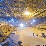 Начался монтаж декоративного фасада Малой ледовой арены